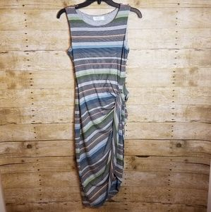 Anthropologie Dresses - Anthro Bailey/44 Gathered Stripes Midi Dress